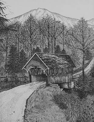 Covered Bridge Drawing - Covered Bridge by Christine Brunette