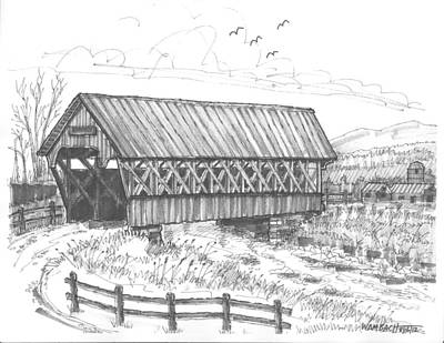 Covered Bridge Drawing - Covered Bridge Coventry Vermont by Richard Wambach