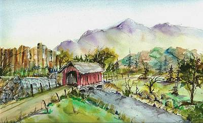 Covered Bridge Painting - Covered Bridge by David Patrick