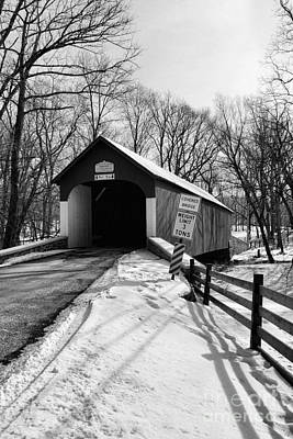 Covered Bridge In Black And White Print by Paul Ward