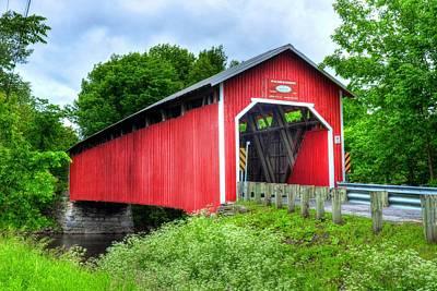 Covered Bridge In Canada Print by Mel Steinhauer