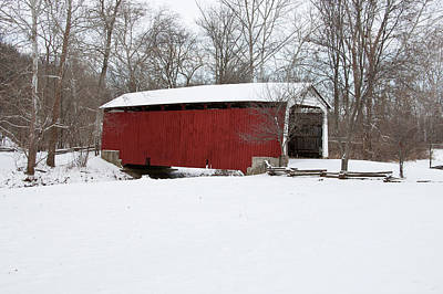Covered Bridge In Snow Covered Forest Print by Panoramic Images