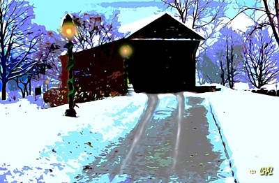 Covered Bridge Painting - Covered Bridge In Winter by CHAZ Daugherty