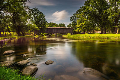 Creek Photograph - Covered Bridge Long Exposure by Randy Scherkenbach