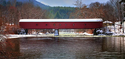 Covered Bridge Photograph - Covered Bridge Of West Cornwall-winter Panorama by Thomas Schoeller