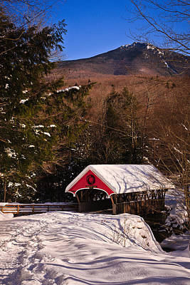 Covered Bridge Over The Pemigewasset Flume Gorge Print by Jeff Sinon