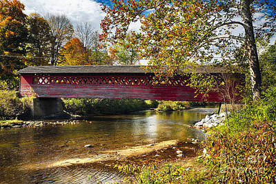 Bennington Photograph - Covered Bridge Over The Waloomsac River II by George Oze