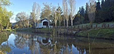 Covered Bridge Panorama California Landscape Art Larry Darnell Print by Larry Darnell