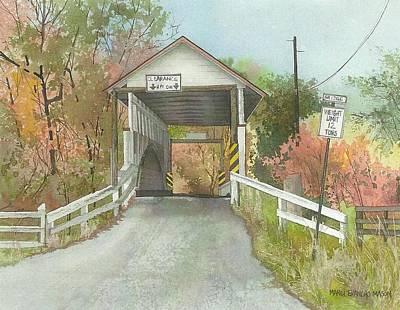 Covered Bridge Painting - Covered In Autumn by Marci Evancho  Mason