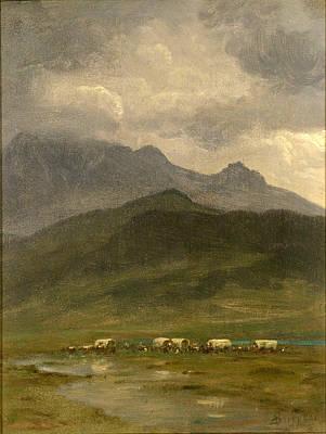 Covered Wagons Print by Albert Bierstadt