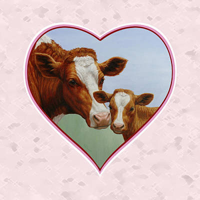 Cow And Calf Pink Heart Print by Crista Forest