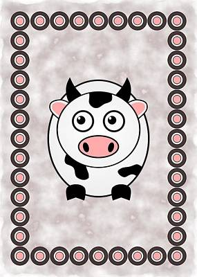 Happy Digital Art - Cow - Animals - Art For Kids by Anastasiya Malakhova