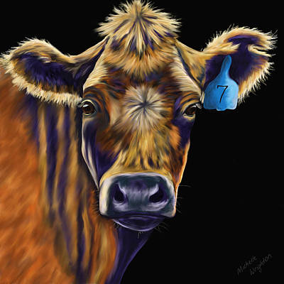 Abstract Painting - Cow Art - Lucky Number Seven by Michelle Wrighton
