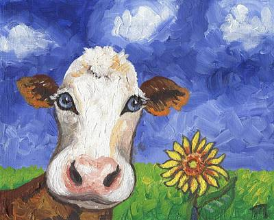 Portraits Painting - Cow Fantasy One by Linda Mears