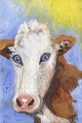 Farm Animals Painting - Cow Fantasy Three by Linda Mears