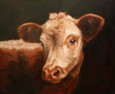 Steer Painting - Cow Gazing by Janet Ferraro