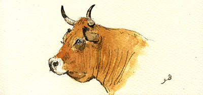 Nature Study Painting - Cow Head Study by Juan  Bosco