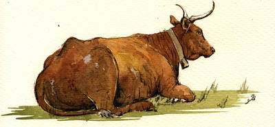 Cow In The Grass Print by Juan  Bosco