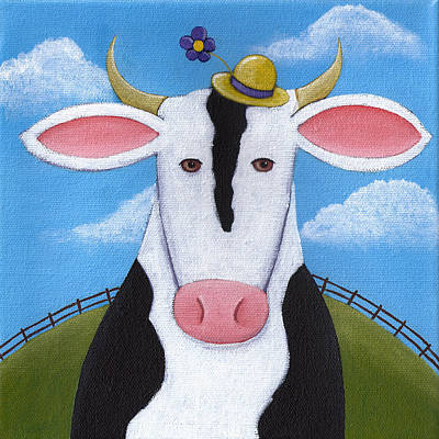Cute Cows Painting - Cow Nursery Wall Art by Christy Beckwith