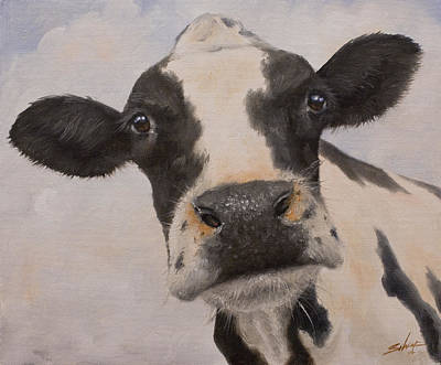 Dry Lake Painting - Cow Portrait I by John Silver