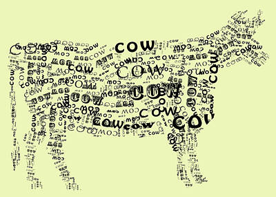 Cow Digital Art - Cow Print by Heather Applegate