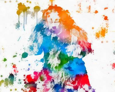 Cowardly Lion Wizard Of Oz Paint Splatter Print by Dan Sproul