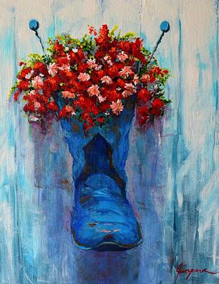 Outdoor Still Life Painting - Cowboy Boot Unusual Pot Series  by Patricia Awapara