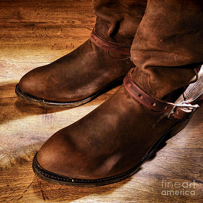 Working Cowboy Photograph - Cowboy Boots On Saloon Floor by American West Decor By Olivier Le Queinec