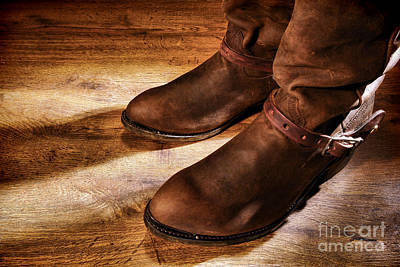 Cowboy Boots On Saloon Floor Print by Olivier Le Queinec