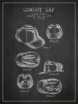 Baseball Art Drawing - Cowboy Cap Patent - Charcoal by Aged Pixel