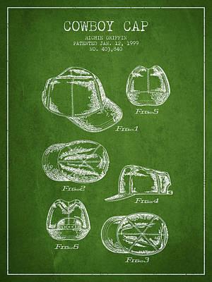 Baseball Art Drawing - Cowboy Cap Patent - Green by Aged Pixel