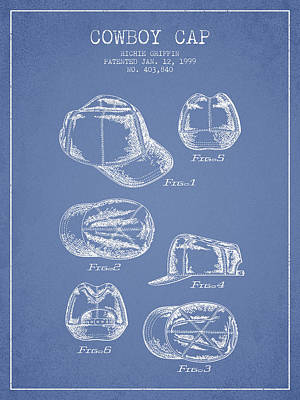 Baseball Art Drawing - Cowboy Cap Patent - Light Blue by Aged Pixel