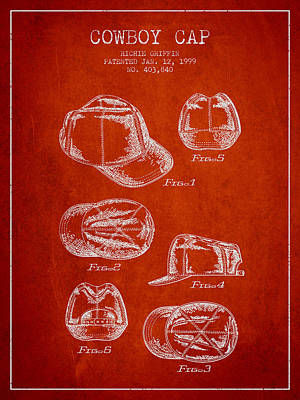 Baseball Art Drawing - Cowboy Cap Patent - Red by Aged Pixel