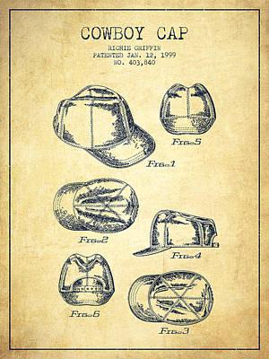 Baseball Art Drawing - Cowboy Cap Patent - Vintage by Aged Pixel