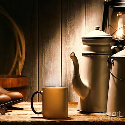 Working Cowboy Photograph - Cowboy Coffee Break by American West Decor By Olivier Le Queinec