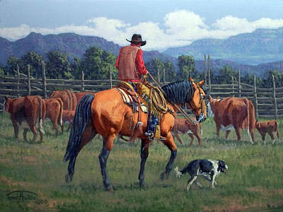 Cattle Drive Painting - Cowboy Crew by Randy Follis