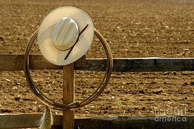 Cowboy Hat And Lasso On Fence Print by Olivier Le Queinec