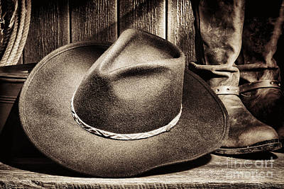 Felt Photograph - Cowboy Hat On Floor by Olivier Le Queinec