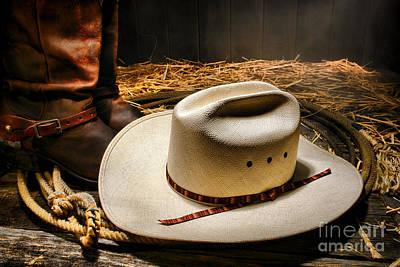 Cowboy Hat On Lasso Print by Olivier Le Queinec