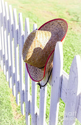 Cowboy Hat On Picket Fence Print by Edward Fielding
