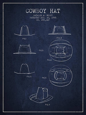 Clothes Clothing Drawing - Cowboy Hat Patent From 1985 - Navy Blue by Aged Pixel