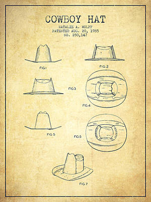 Clothes Clothing Drawing - Cowboy Hat Patent From 1985 - Vintage by Aged Pixel