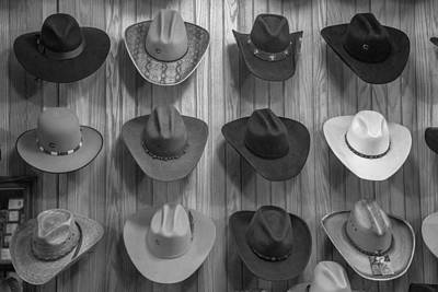 Cowboy Hats On Wall In Nashville  Print by John McGraw