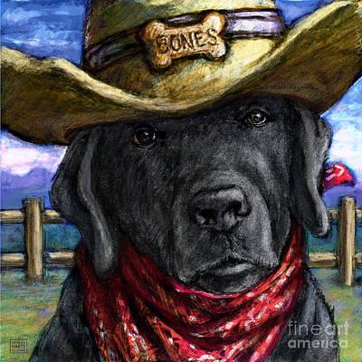 Cowgirl Mixed Media - Cowboy Lab - Black by Kathleen Harte Gilsenan