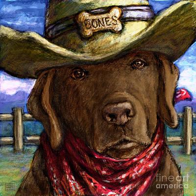 Cowgirl Mixed Media - Cowboy Lab - Chocolate by Kathleen Harte Gilsenan