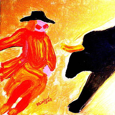 Rodeo Clown Painting - Cowboy Rodeo Clown And Black Bull 1 by Richard W Linford