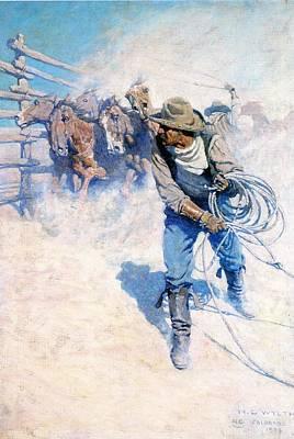 Working Cowboy Digital Art - Cowboy Roping Wild Horses by N C Wyeth