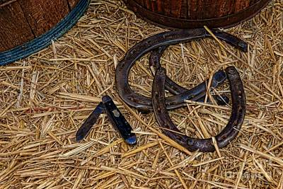 Cowboy Theme - Horseshoes And Whittling Knife Print by Paul Ward