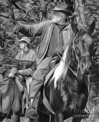 Cattle Drive Digital Art - Cowboys Watching The Herd by Brian Mollenkopf