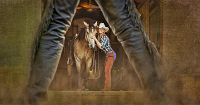 Cowgirl And Cowboy Print by Susan Candelario